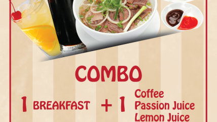 COMBO 1 BREAKFAST +  1 DRINK